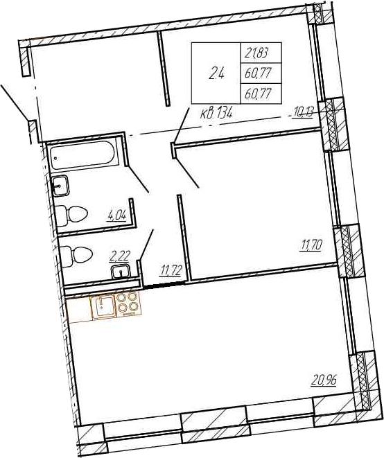 3Е-к.кв, 60.77 м²