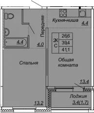 2Е-к.кв, 41.1 м², 2 этаж