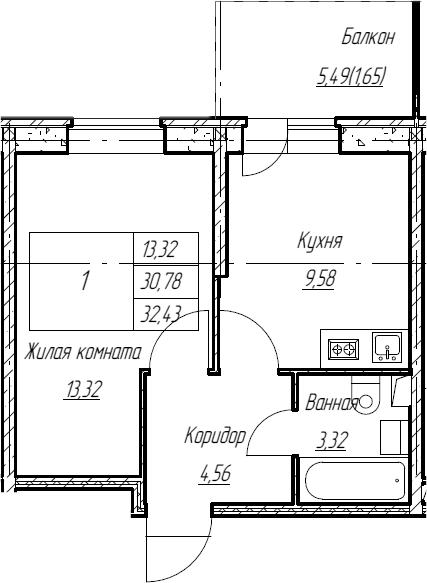 1-к.кв, 32.43 м², 2 этаж