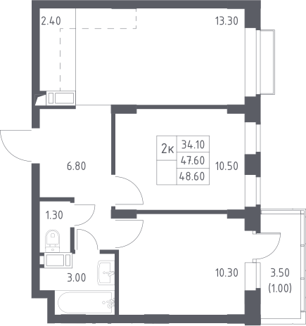 3Е-комнатная, 48.6 м²– 2