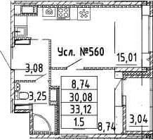 2Е-к.кв, 30.08 м²