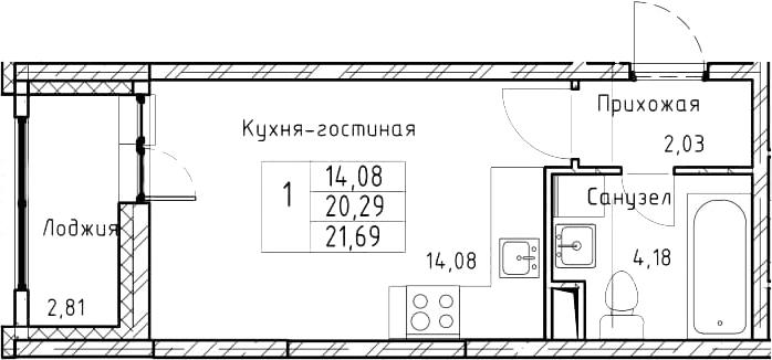 Студия, 21.69 м², 2 этаж