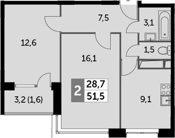 2-к.кв, 51.5 м², от 6 этажа