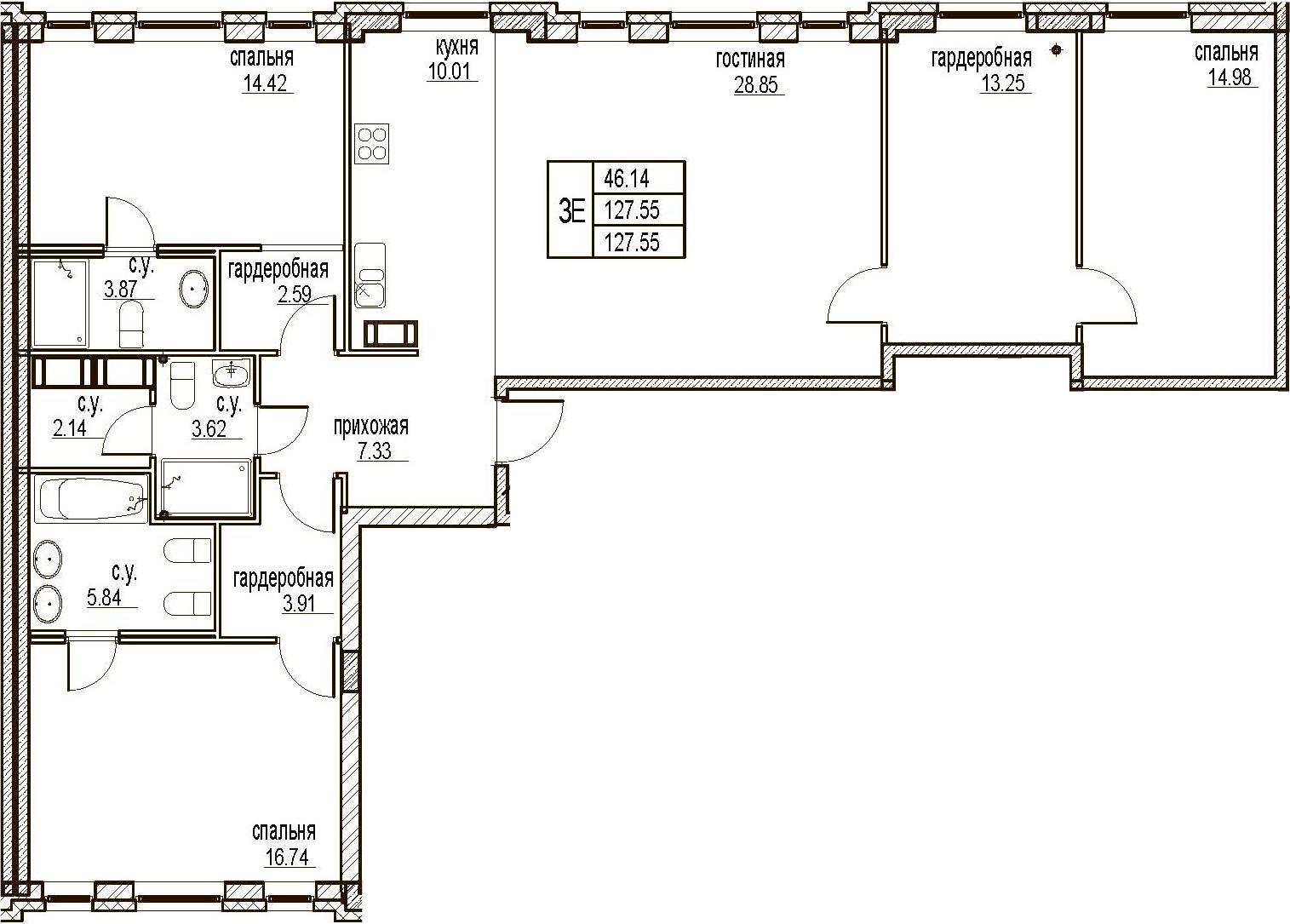 4Е-комнатная, 127.55 м²– 2