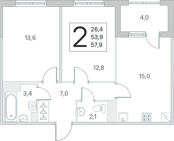 3Е-к.кв, 53.9 м², от 3 этажа
