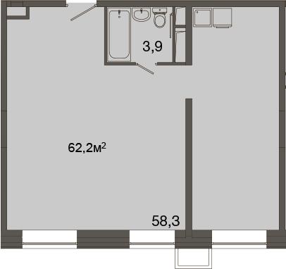 Свободная планировка, 62.2 м²– 2
