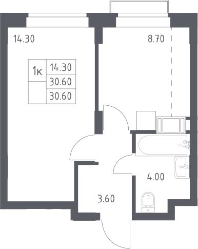 1-к.кв, 30.6 м², 14 этаж