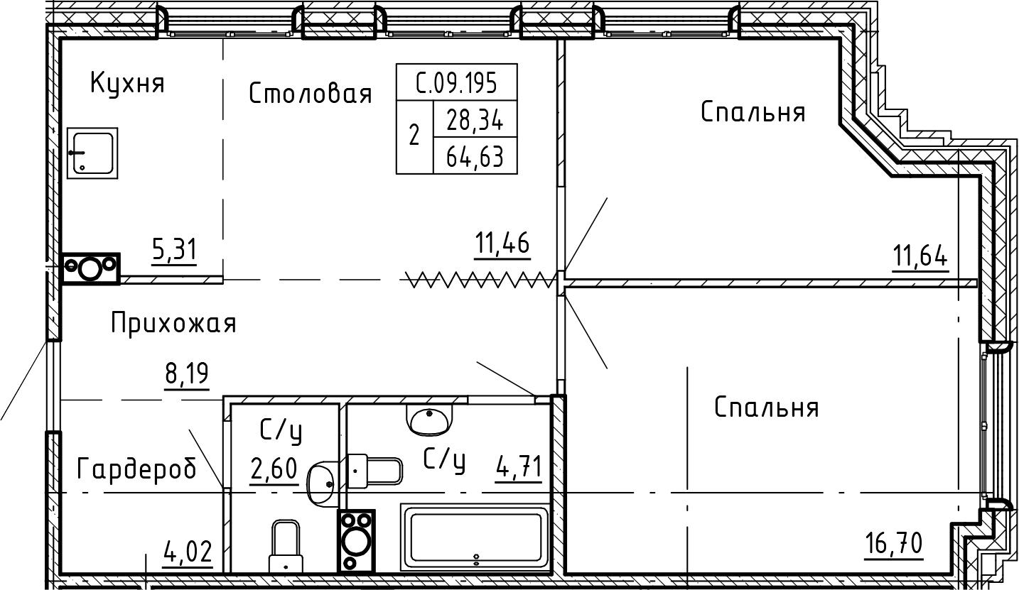 3Е-комнатная, 64.63 м²– 2