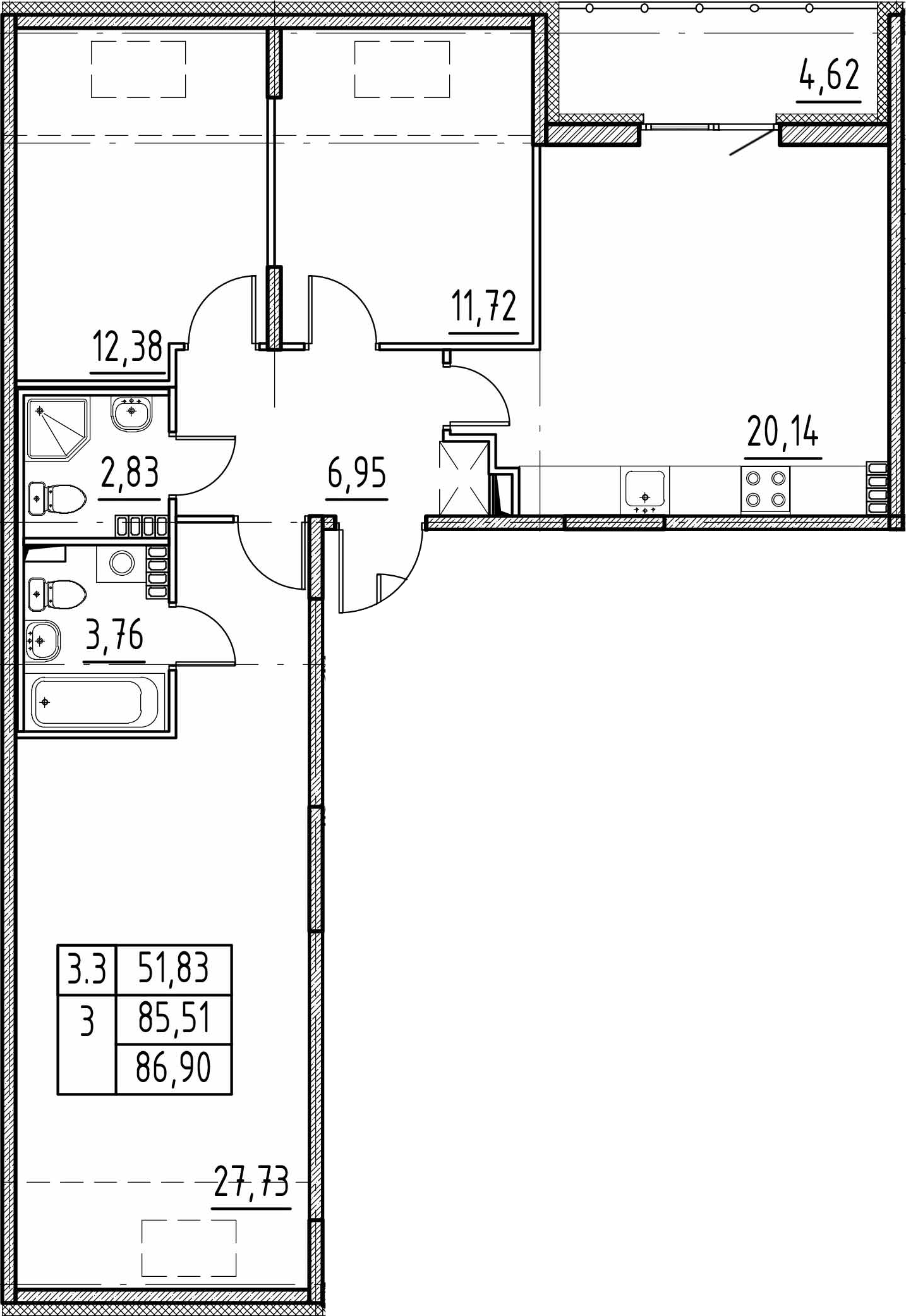 4Е-к.кв, 85.51 м²