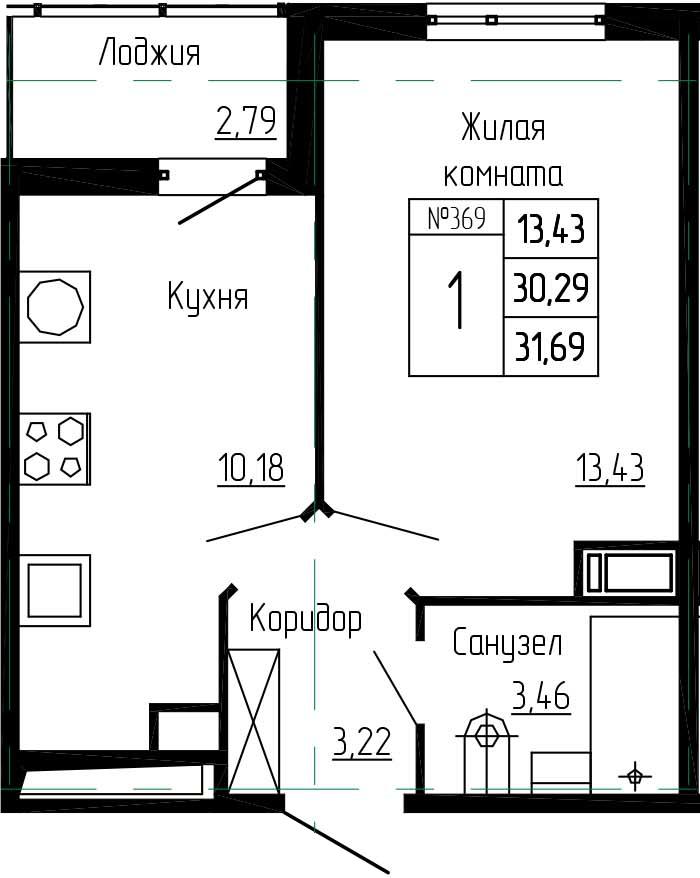 1-к.кв, 33.08 м²