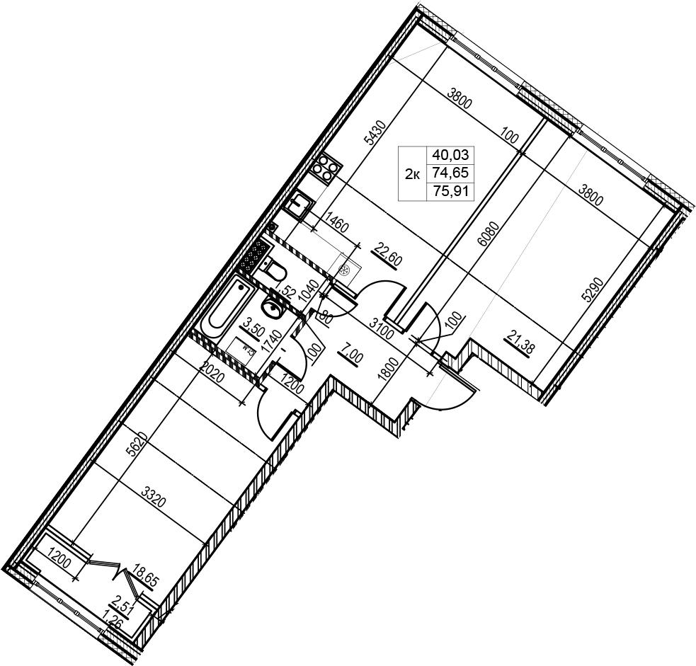 3Е-комнатная, 75.91 м²– 2