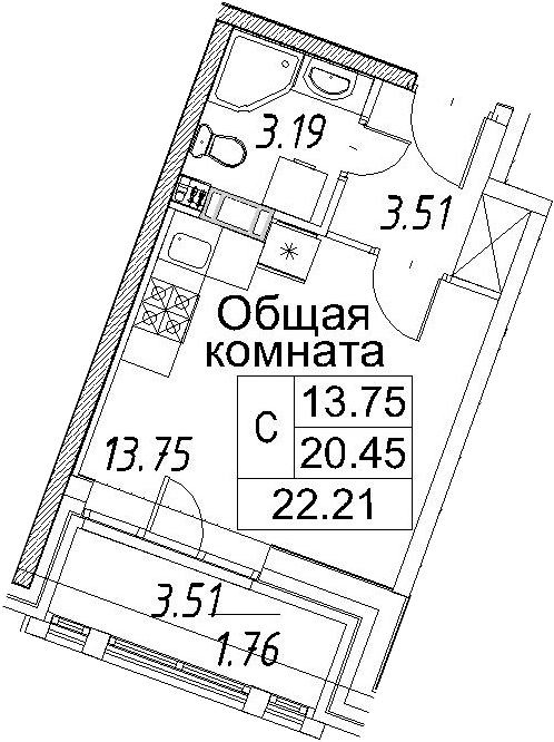 Студия, 22.21 м²– 2