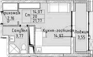 Студия, 21.77 м²– 2
