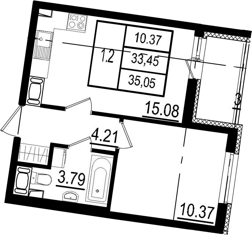 2Е-к.кв, 33.45 м²