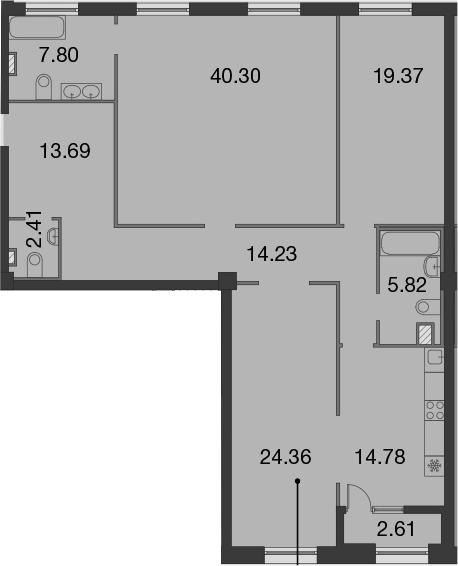 3-к.кв, 145.37 м²