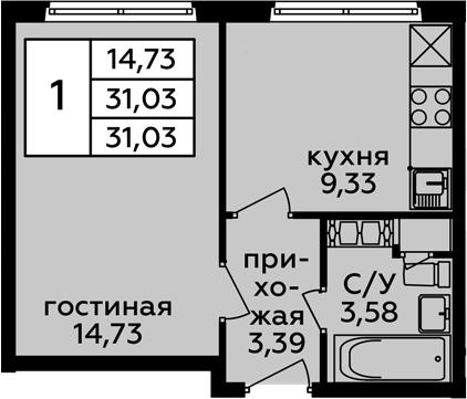 1-к.кв, 31.03 м²