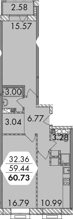 2-комнатная, 60.73 м²– 2