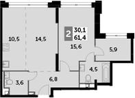 3Е-к.кв, 61.4 м², 30 этаж