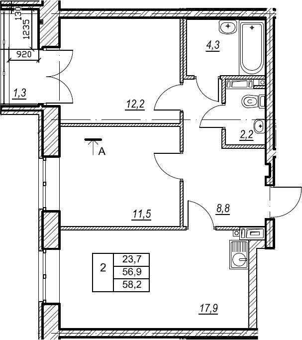 2-к.кв, 58.2 м², 3 этаж