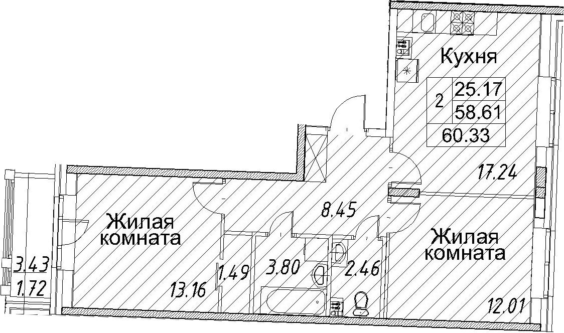 3-к.кв (евро), 62.05 м²