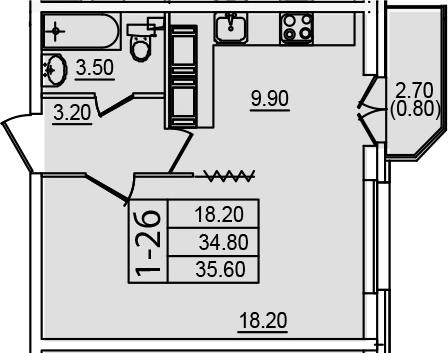 1-к.кв, 37.47 м²