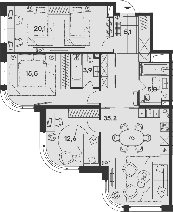 4Е-к.кв, 97.4 м², 24 этаж