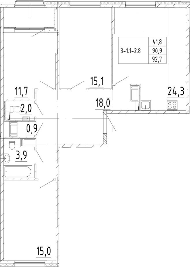 4Е-к.кв, 92.7 м²