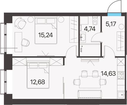 2-к.кв, 52.46 м²