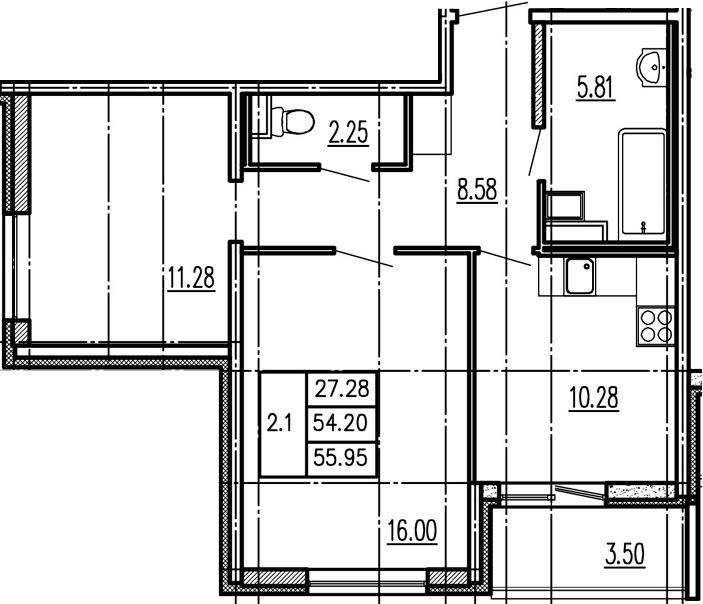 2-комнатная, 54.2 м²– 2