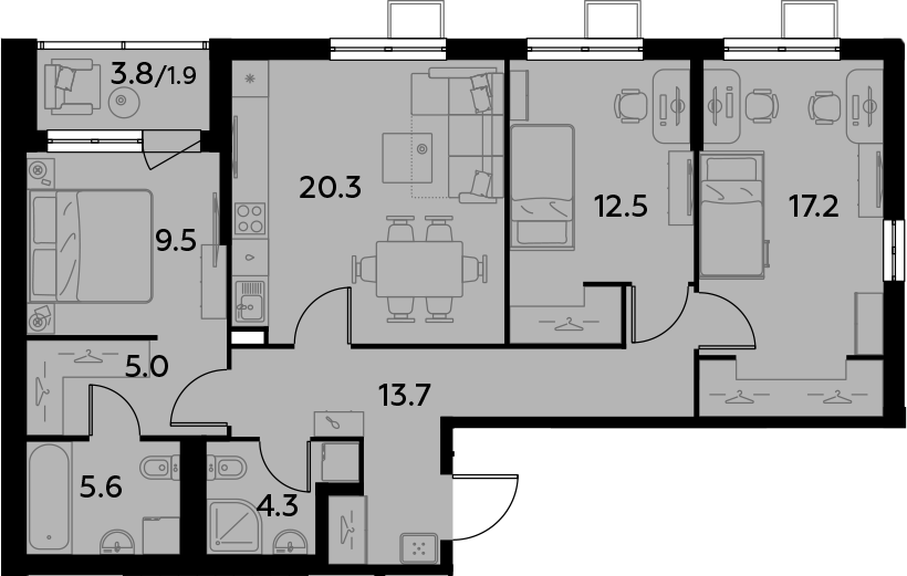 4Е-к.кв, 90 м²