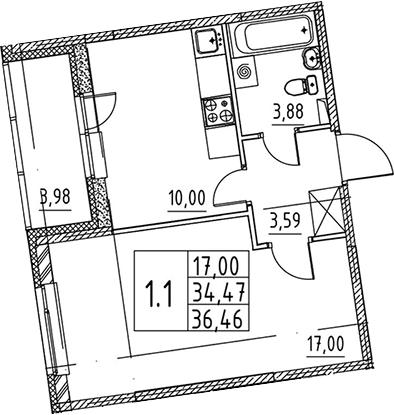 1-комнатная квартира, 34.47 м², 2 этаж – Планировка