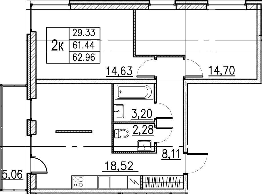 3Е-комнатная, 62.96 м²– 2