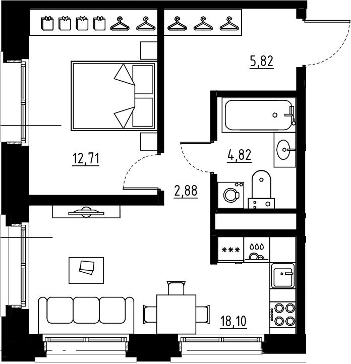 2Е-комнатная, 44.33 м²– 2