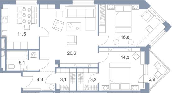 3-к.кв, 88.7 м², от 10 этажа