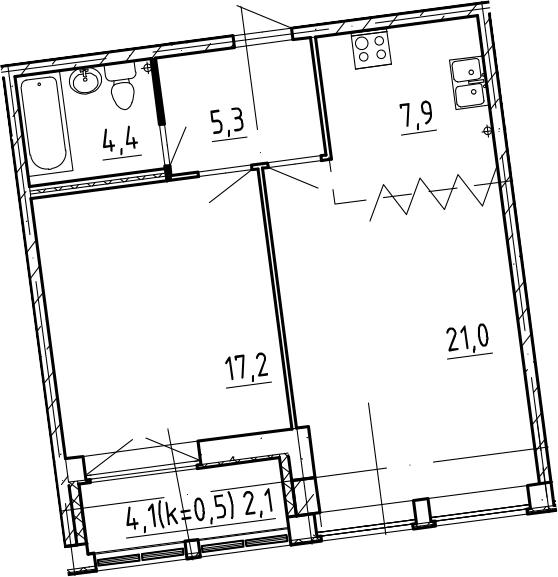 2-к.кв, 57.9 м², 9 этаж