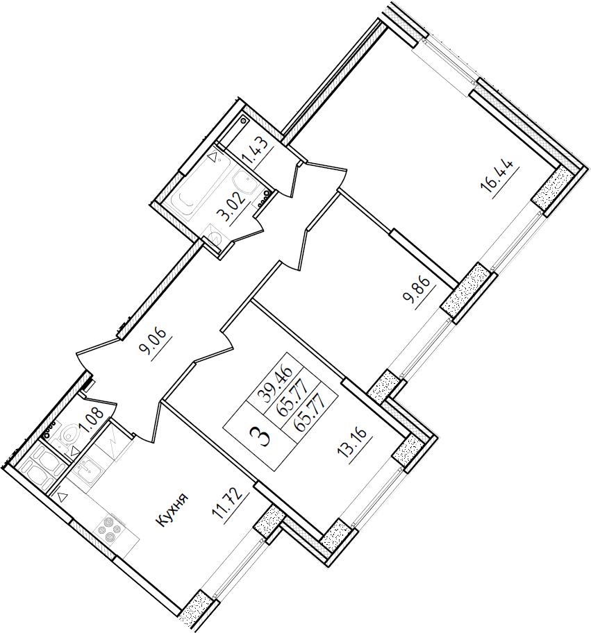 3-к.кв, 65.77 м²