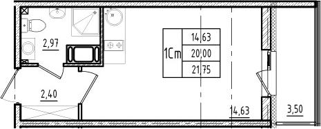 Студия, 20 м², 18 этаж
