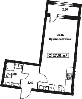 Студия, 27.91 м²– 2
