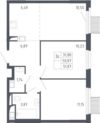 3Е-к.кв, 50.87 м²