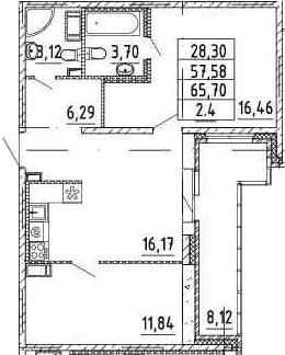 2-комнатная, 57.38 м²– 2
