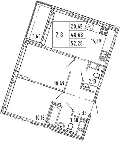 3Е-к.кв, 50.48 м², 5 этаж