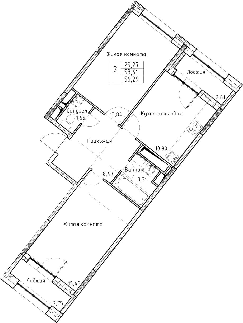 2-к.кв, 56.29 м², от 5 этажа