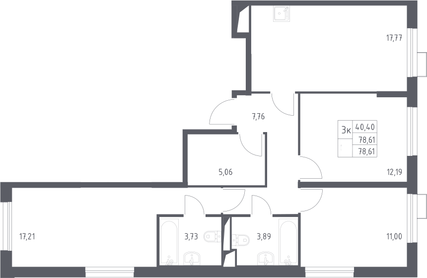 3-к.кв, 78.61 м²