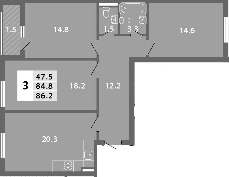 4Е-комнатная, 86.22 м²– 2