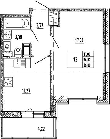 1-к.кв, 39.04 м²