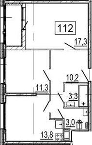 2-комнатная, 60.8 м²– 2