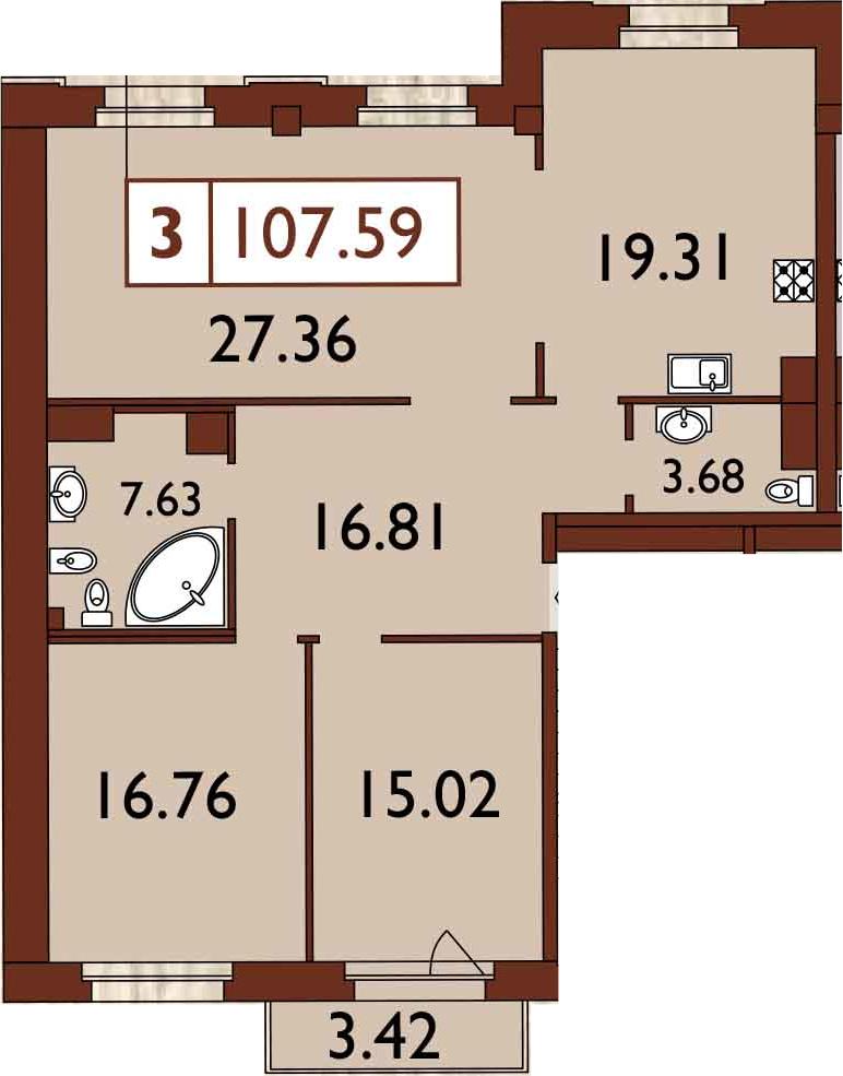 3-к.кв, 109.97 м²