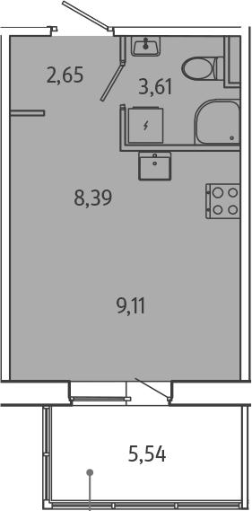 Студия, 29.3 м²