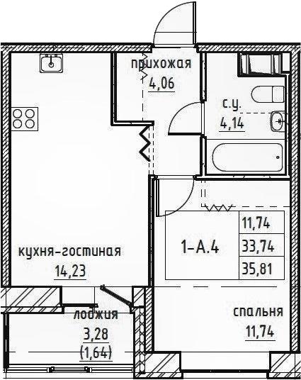 2-к.кв (евро), 37.45 м²