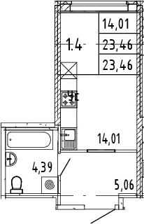 Студия, 23.46 м²– 2